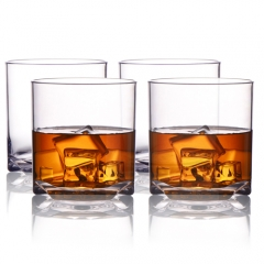 MICHLEY Rock Style Old Fashioned Whiskey Glasses 9 OZ,100% Tritan Plastic Short Glasses For Camping/Party