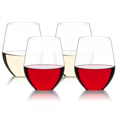 MICHLEY Unbreakable Stemless Wine Glasses 16 oz,100% Tritan Plastic Dishwasher Safe Shatterproof Glassware